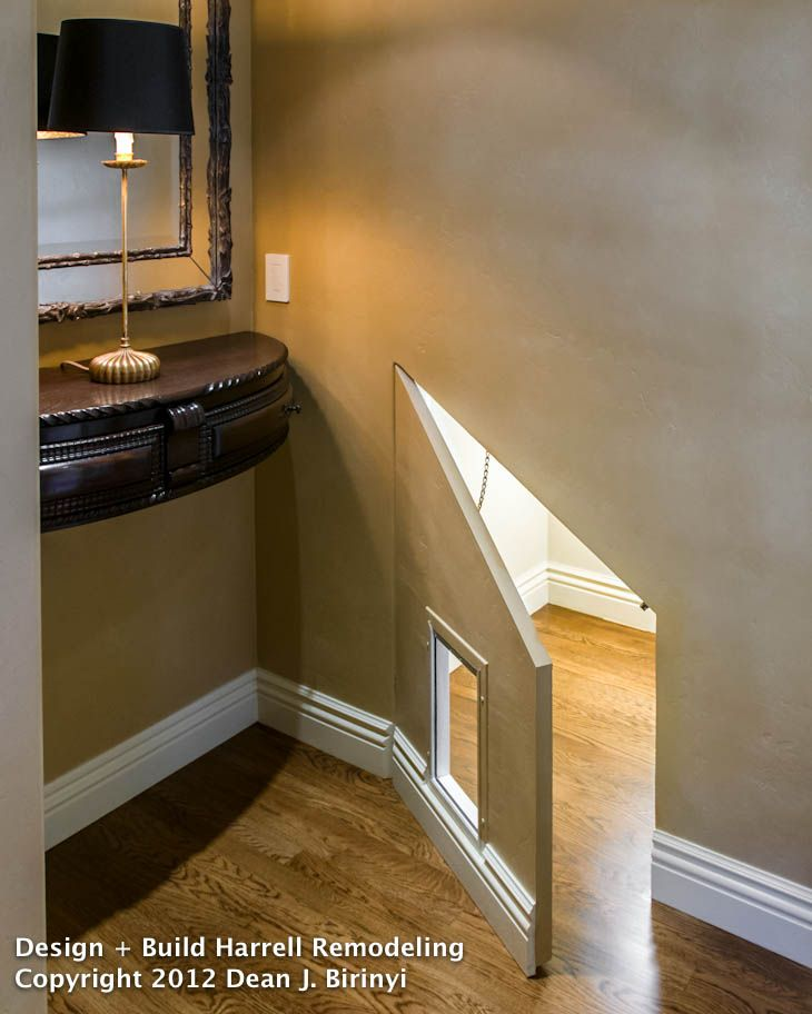 A Carefully Hidden Cat Door Under The Stairs Is Quickly Accessed By Homeowners With An Angled When Kitty Litterbox Ready To Be Changed