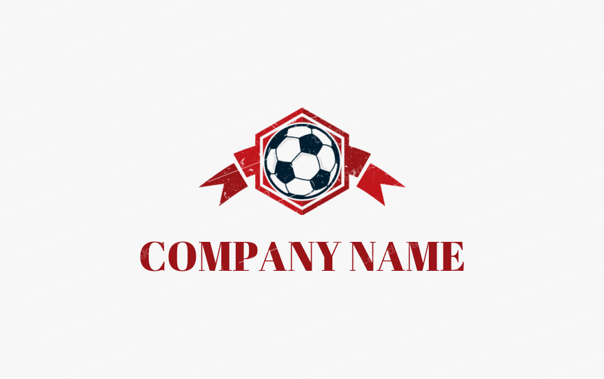 Soccer With Ribbon Logo Template By Logodesign Net In 2020 Ribbon Logo Soccer Logo Logo Design