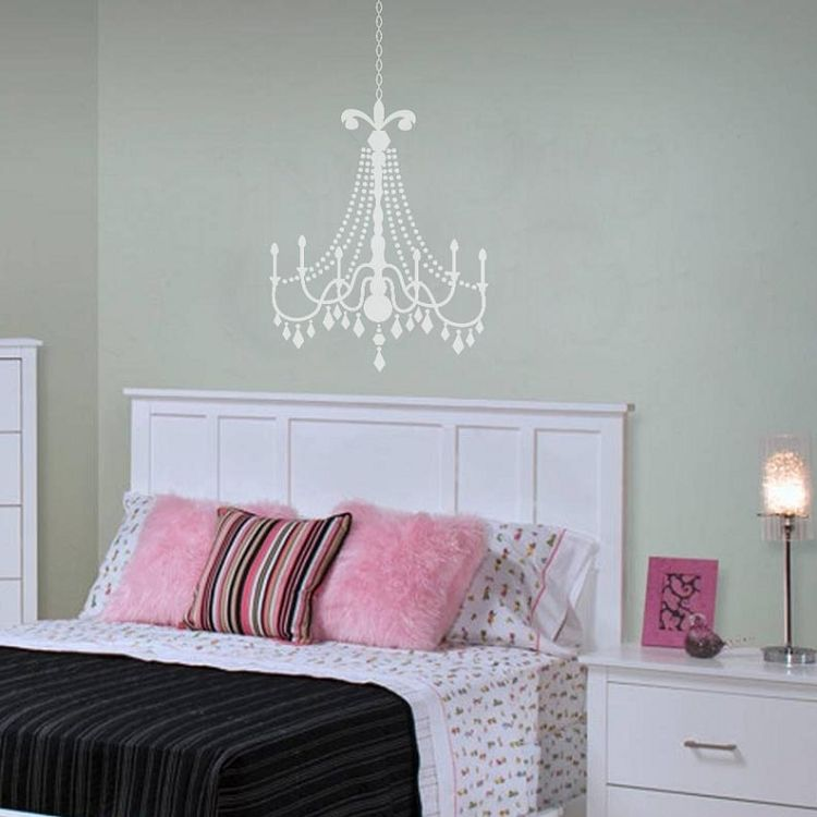 Perfect Glam Teen Bedroom Stick On Stickers | Medium Matte White Glamour Chandelier  On A Light Turquoise Wall.