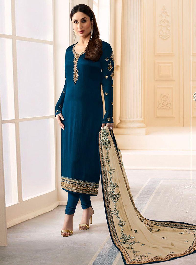 68091feabe Kareena Kapoor Navy Blue Georgette Churidar Salwar Suit 114081 ...
