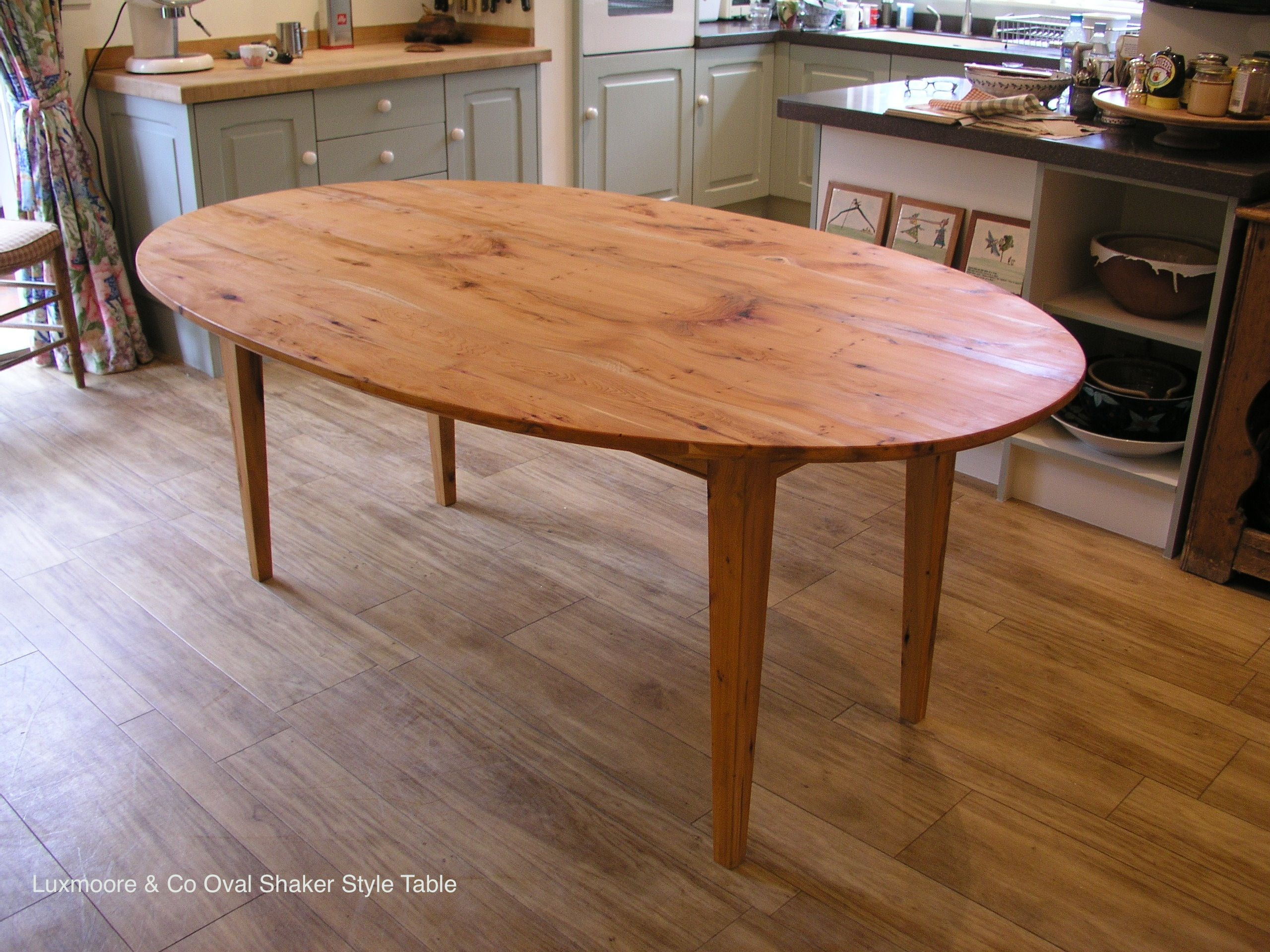 Oval shaker style dining kitchen table made from solid English