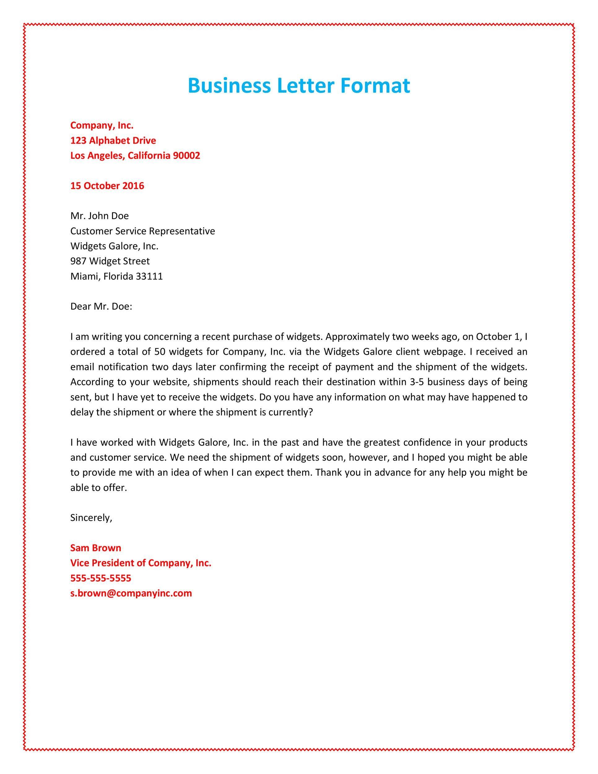 Proper Format For A Letter Business Letter Format Business Letter Format Example Business Letter Example