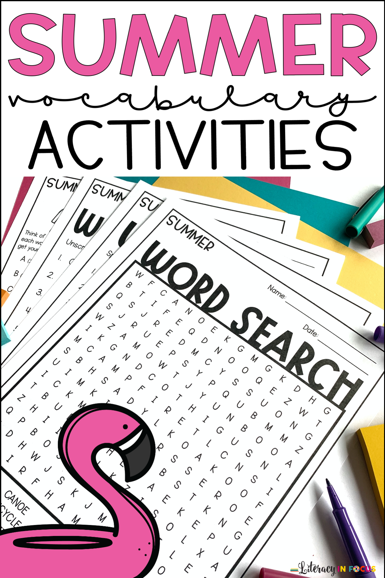 Summer Vocabulary Printable Worksheets In