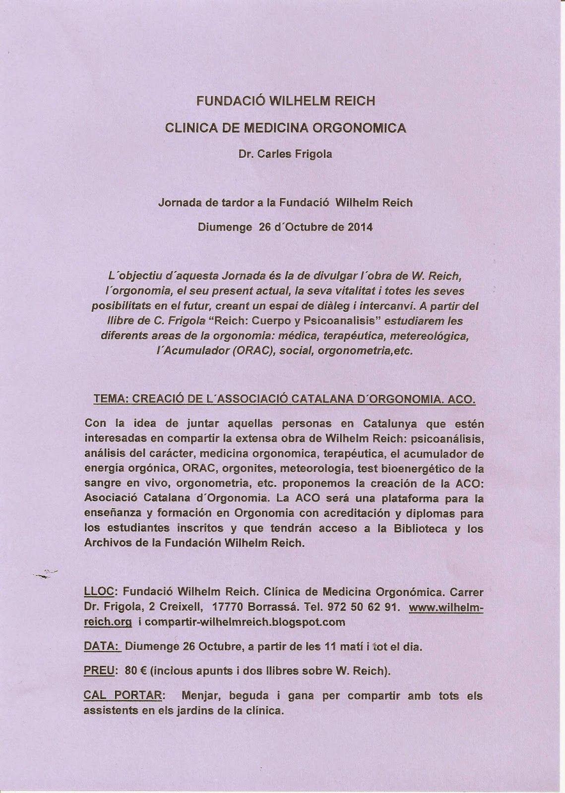 Compartir-WilhelmReich: JORNADA DE OTOÑO 2014
