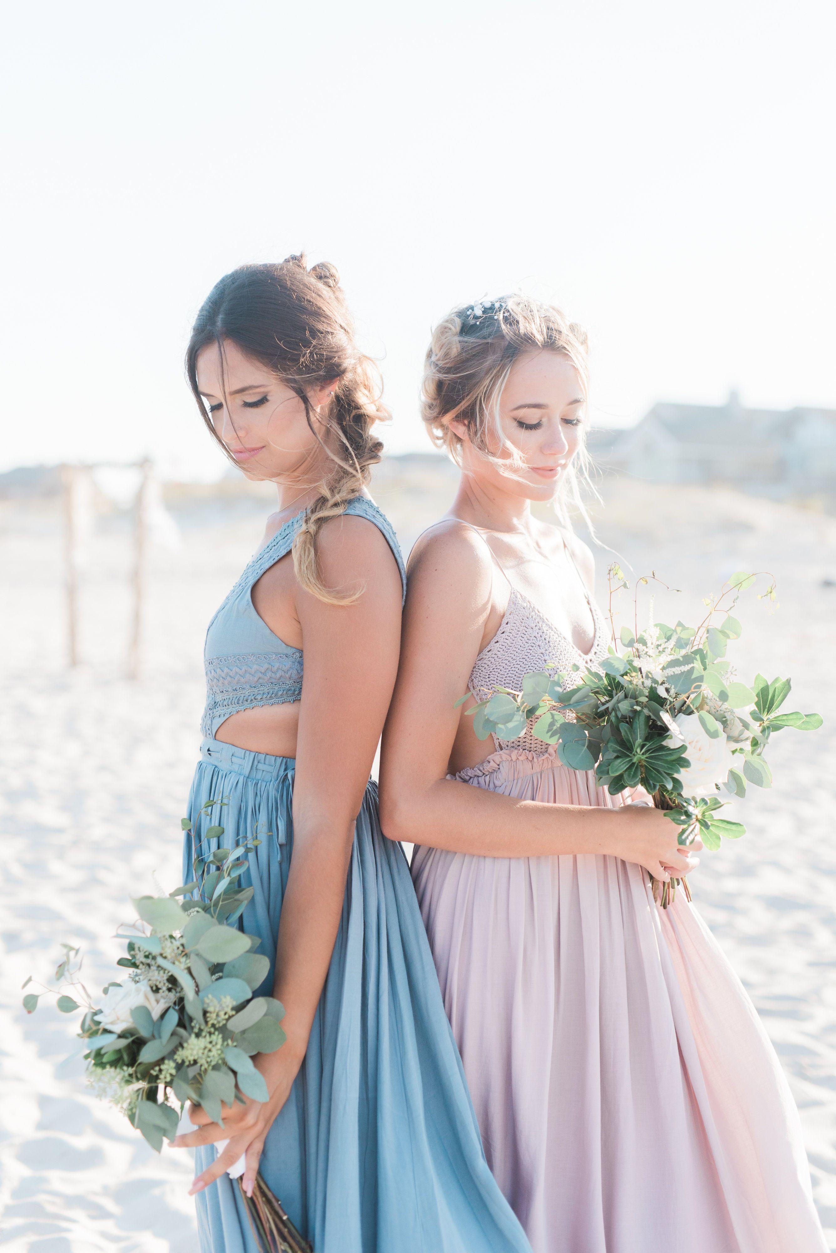a4fb01c5f1 Blush and blue boho bridesmaid dresses. Elegant beachy bridesmaid looks