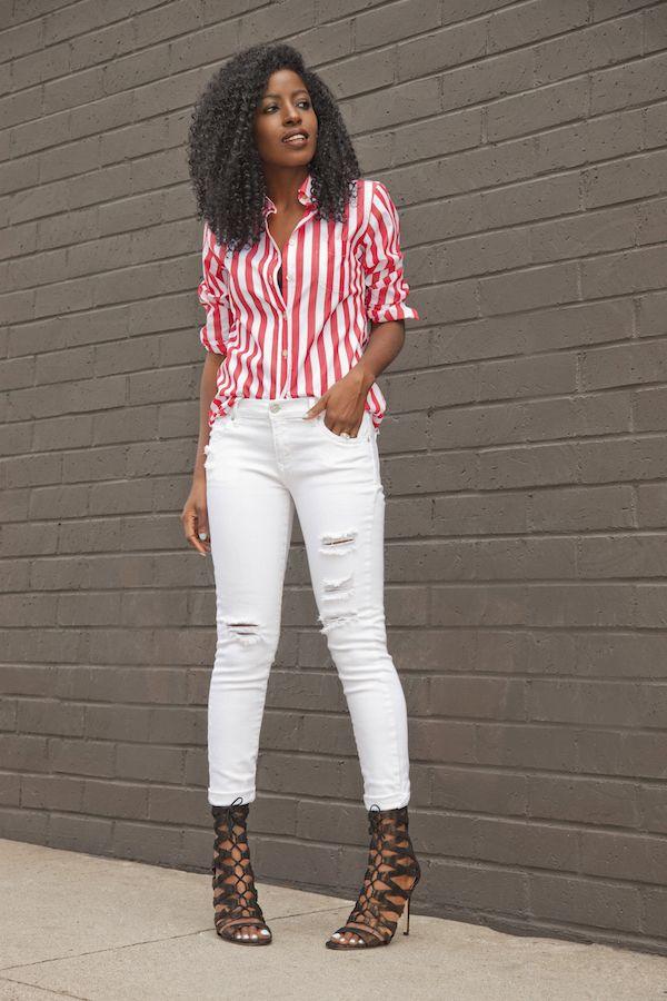 Best Mg 2713 Striped Boyfriend Shirt White Distressed Jeans 640 x 480