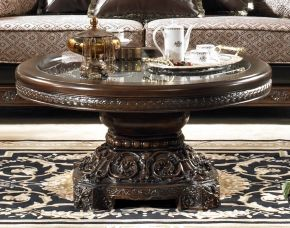 Hd1100ct 42 Round Hand Carved Wood Coffee Table In Brown Finish