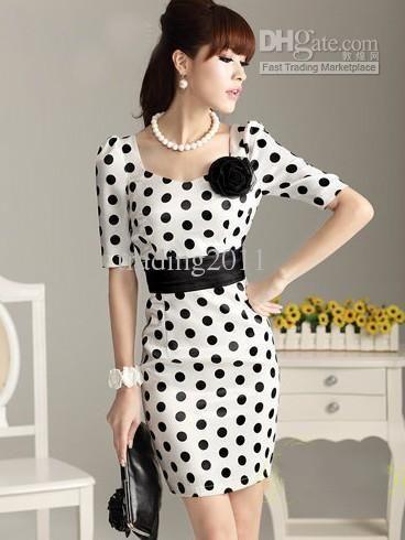 Wholesale Free ship Stylish Dot women's dress slim fit bowknot evening dresses Short Sleeve party skirts S-XXL, Free shipping, $20.17-24.78/Piece   DHgate