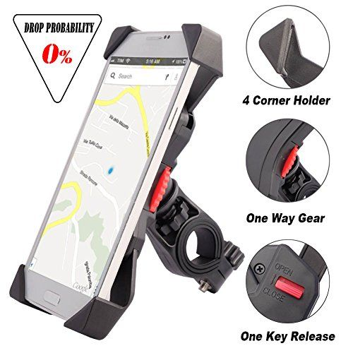 Visnfa Bike Phone Mount Anti Shake And Stable Cradle Clamp With