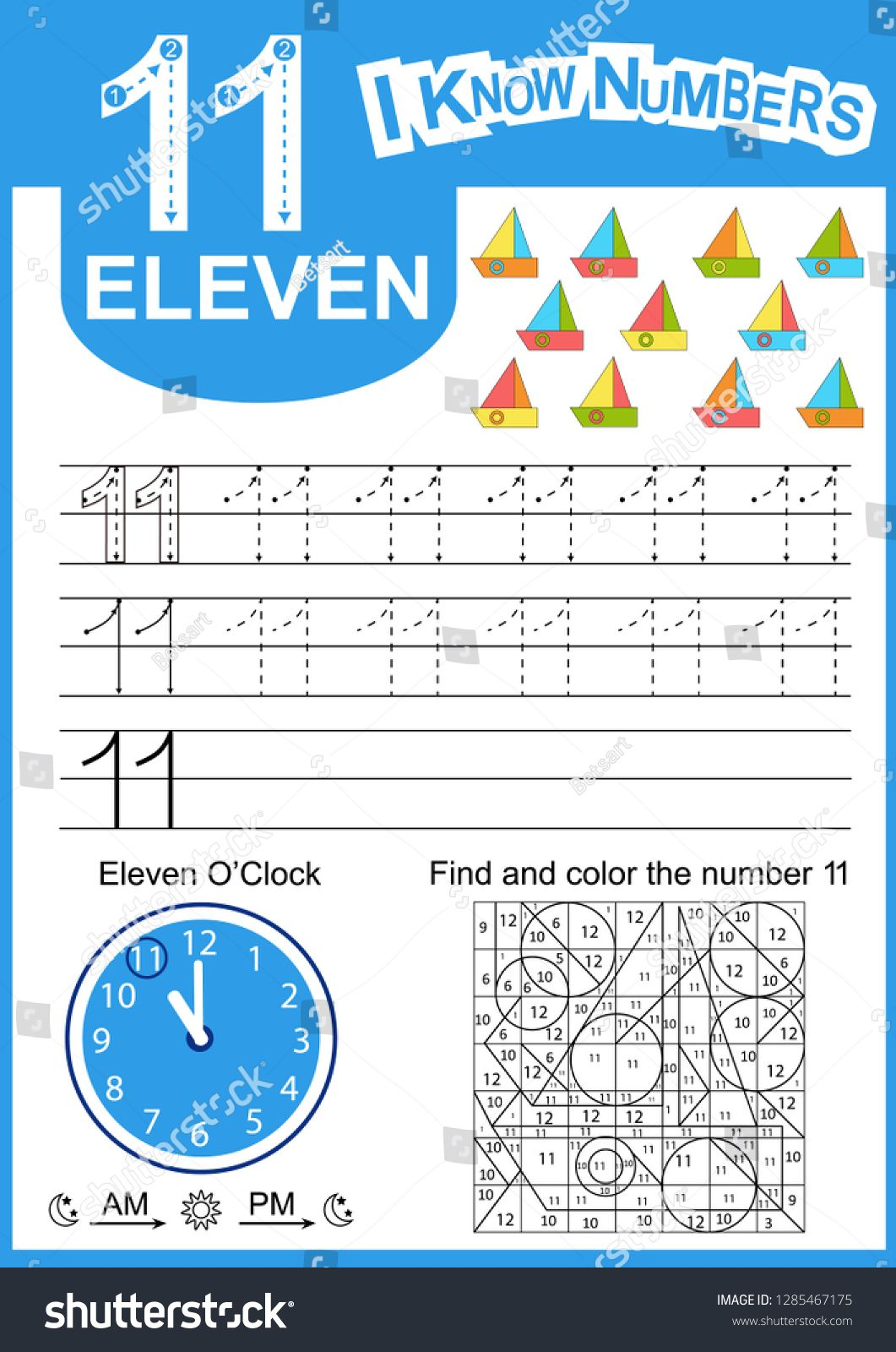 Write Numbers Eleven Kids Learn To Count Worksheet