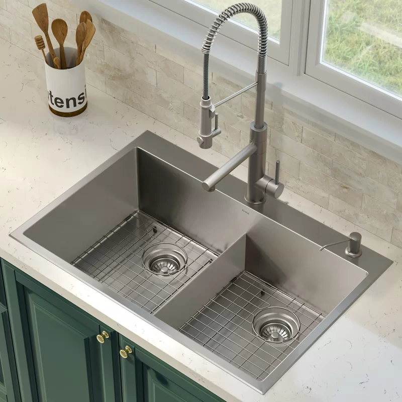 33 L X 22 W Double Basin Drop In Kitchen Sink With Accessories