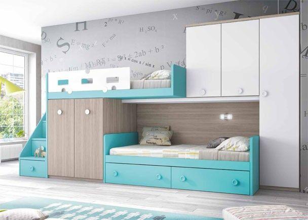 Dormitorio infantil con dos camas tipo tren habitaciones infantiles camas literas y dormitorios - Habitaciones infantiles dobles poco espacio ...