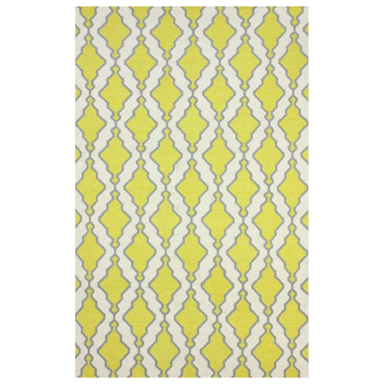 Tracey Yellow Flatweave Wool Rug #Zincdoor