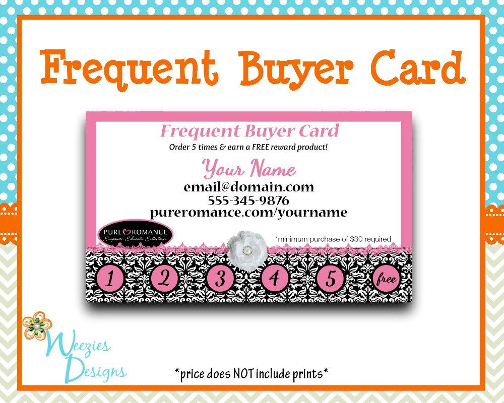 Pure Romance Frequent Buyer Card Business Card Direct Sales Marketing Independant Consultant Directs Sales Busines Card Template Pure Products Pure Romance