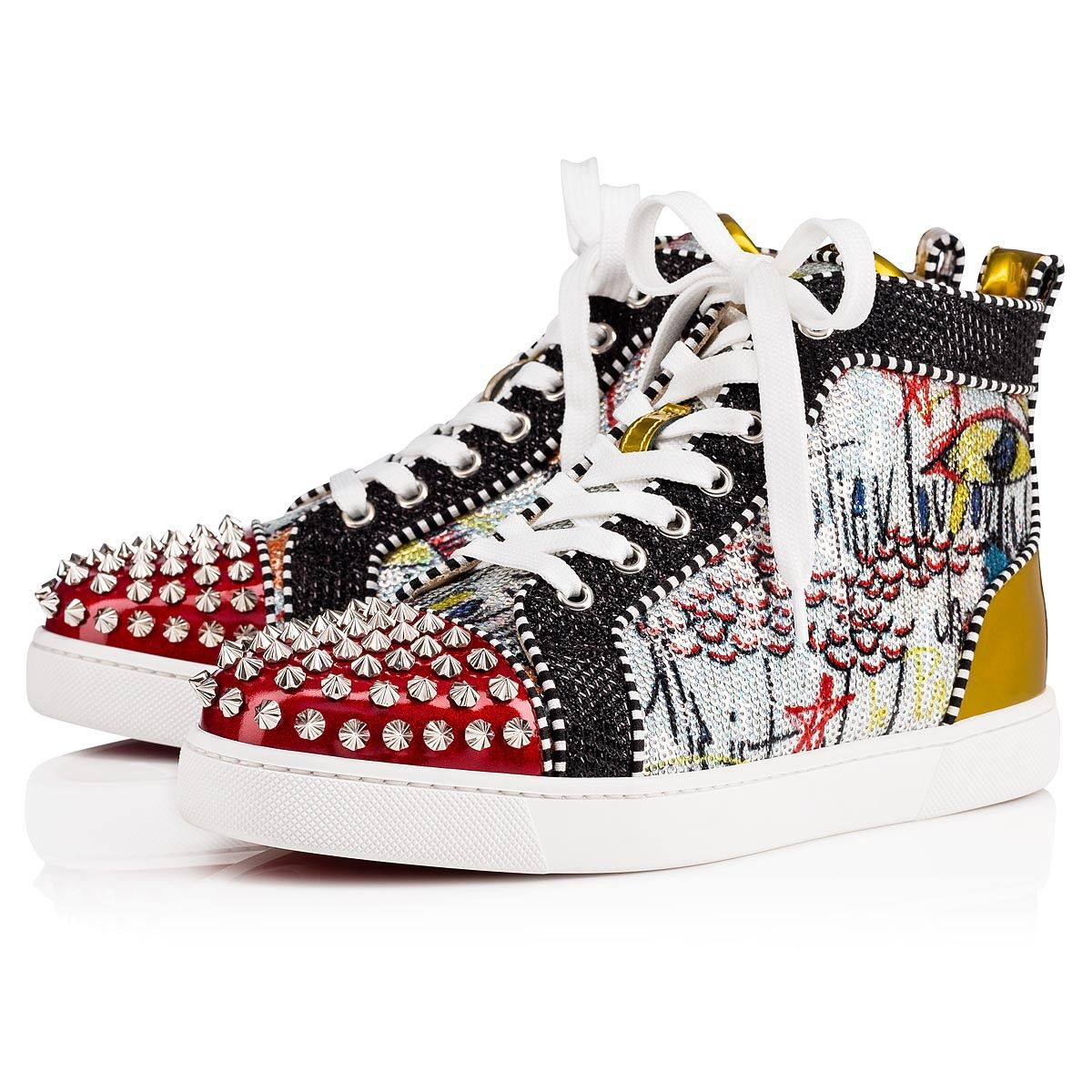 4a593baab0d2 Christian Louboutin United States Official Online Boutique - Lou Spikes  Woman Flat Version Multi Loubitag Paillette available online.