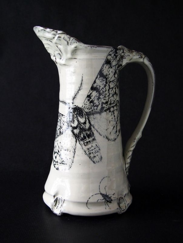 Swedish ceramic artist Elisabeth Ottebring. Large pitcher big print