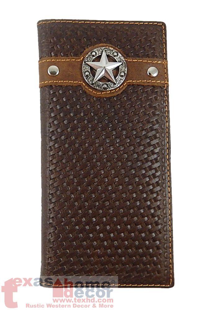 Men/'s Western Rodeo Bi-Fold Long Wallet Distressed Genuine Leather Cross Concho