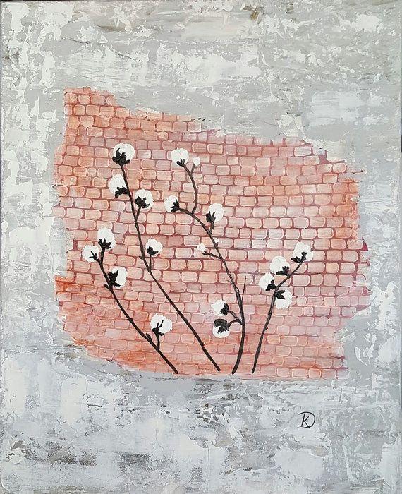 Peinture originale de coton - couteau à Palette peinture abstraite - apprendre a peindre un mur