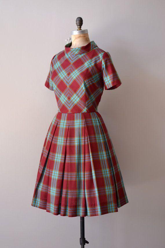 1950s plaid dress / 50s dress / Ciderhouse Plaid by DearGolden, $88.00