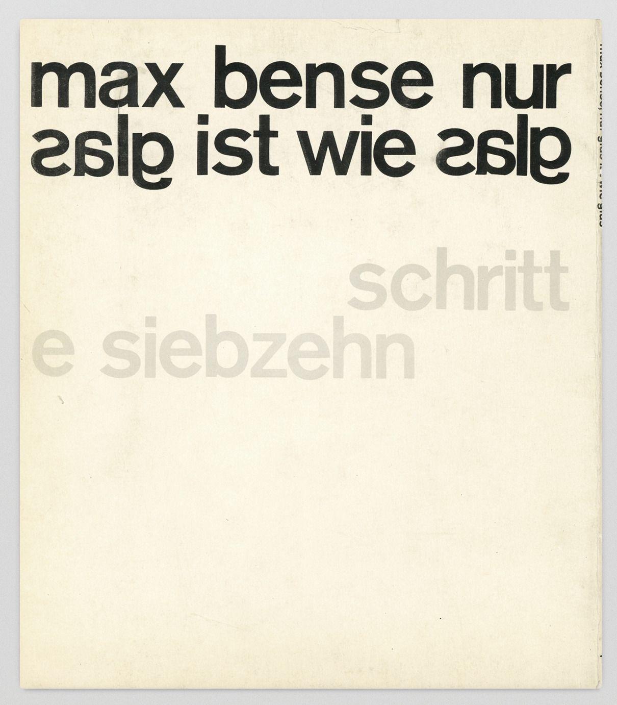 Max Bense Gedichte Aus Dem Irrenhaus Back Cover
