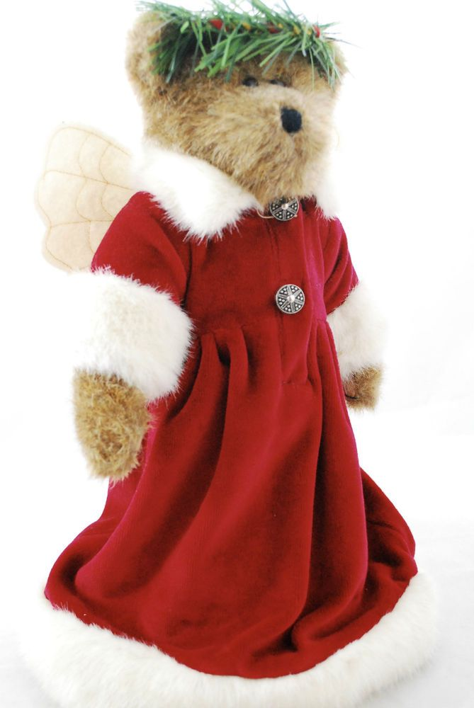Boyds Bears Holly Beary 12 Christmas Tree Topper Brown Bear Angel In Red Robe Boyds Bears 12 Christmas Christmas Bear