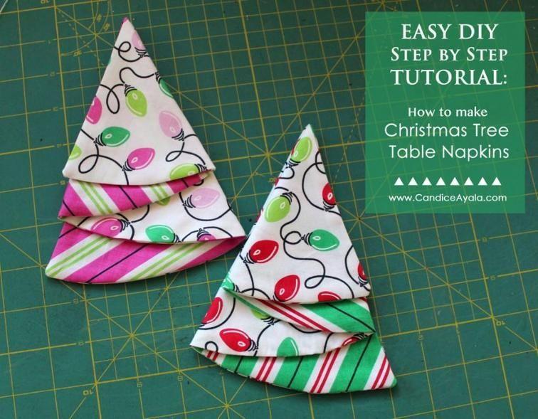 Free Craftsy Pattern Easy Diy Christmas Tree Table Napkins Easy Christmas Diy Christmas Sewing Patterns Christmas Tree Napkins