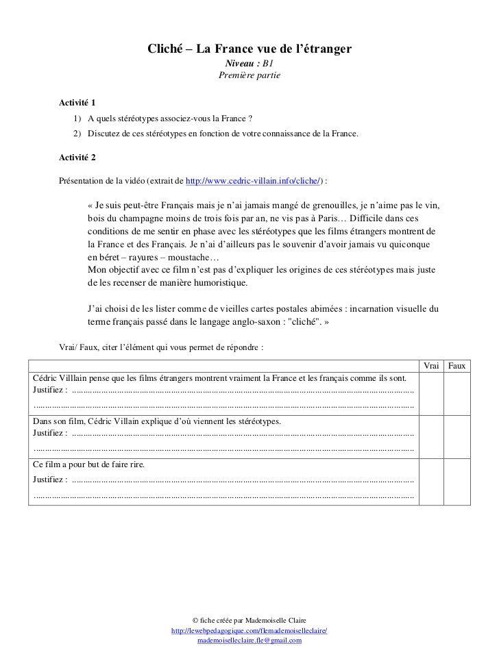 Cliche Les Fiches Pedagogiques De Lapprenant Fiches Pedagogiques Fiches Enseignement Du Francais