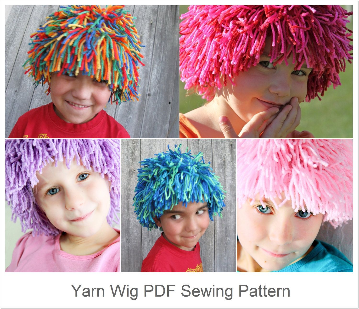 Diy Yarn Wig Sewing Pattern Halloween Costume Wig Tutorial Pdf E Pattern For Children And Adult 5 75 Vi Yarn Wig Yarn Diy Halloween Costume Wigs
