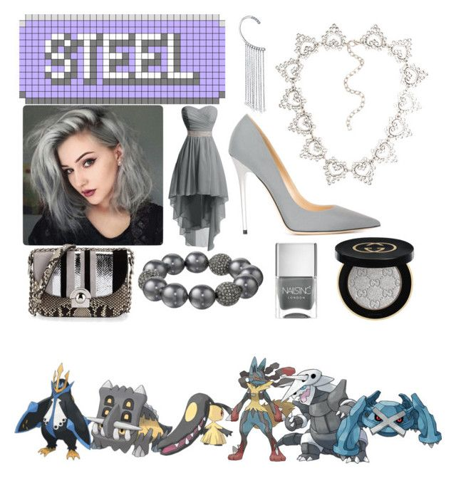 """""""Pokemon - Steel Type Trainer"""" by queen-taylor-brie ❤ liked on Polyvore featuring Jimmy Choo, Bling Jewelry, Kenneth Jay Lane, Gucci, Nails Inc. and Prada"""