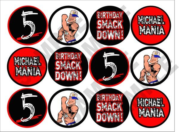 wwe printable cupcake toppers personalized too cute