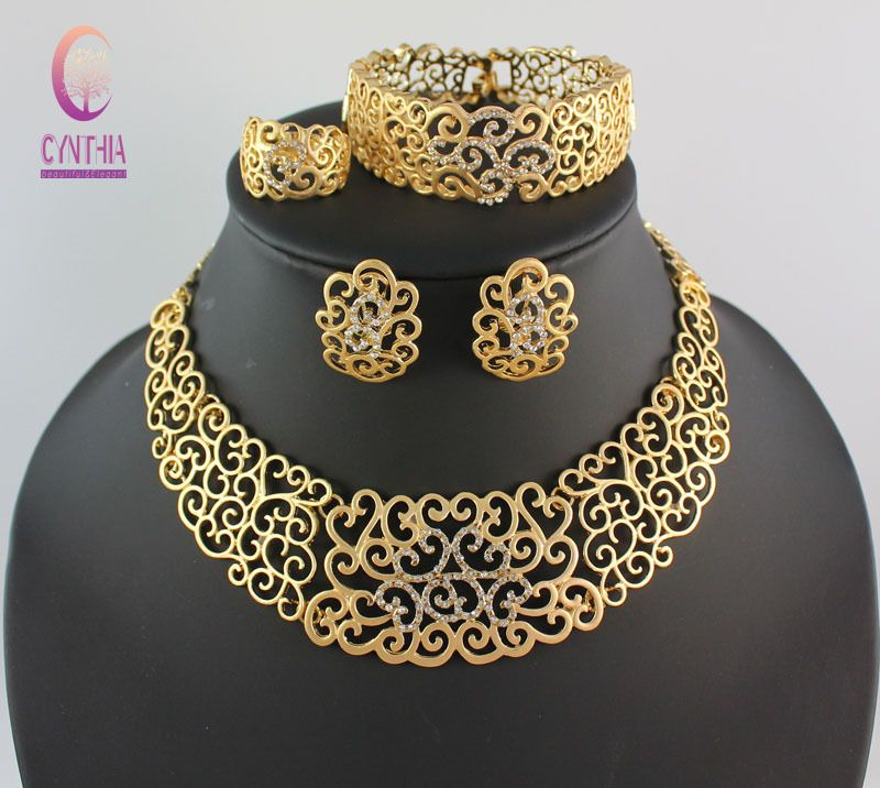 African Costume Jewelry Sets Gold Plated Crystal Wedding Women ...
