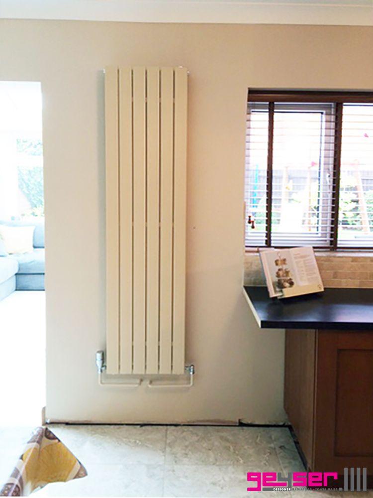 """Geyser """"MURO"""" Latte Quartz (Buttermilk Textured Cream) Flat Panel Designer Radiator #designerradiator #creamradiator #flatpanelradiator #electricradiator"""