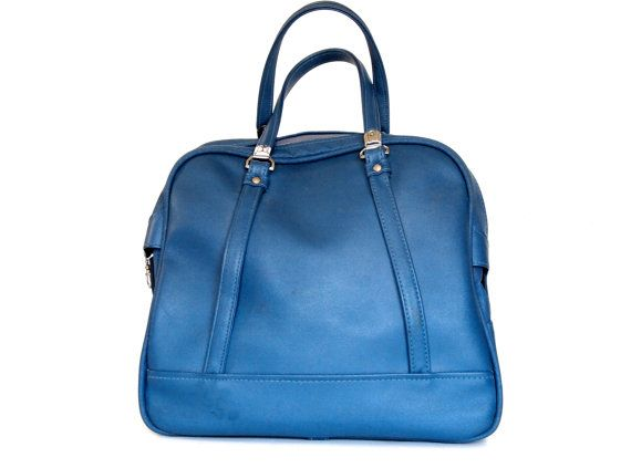 New purchase! Vintage luggage blue carry on shoulder bag by Tiara.