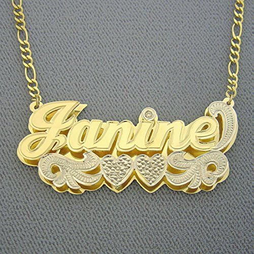 Solid 10k Gold Large 2 Inches Name Pendant Personalized Jewelry 3d Double Plates Nameplate Necklace Gold Personalized Jewelry Personalized Gold Necklace