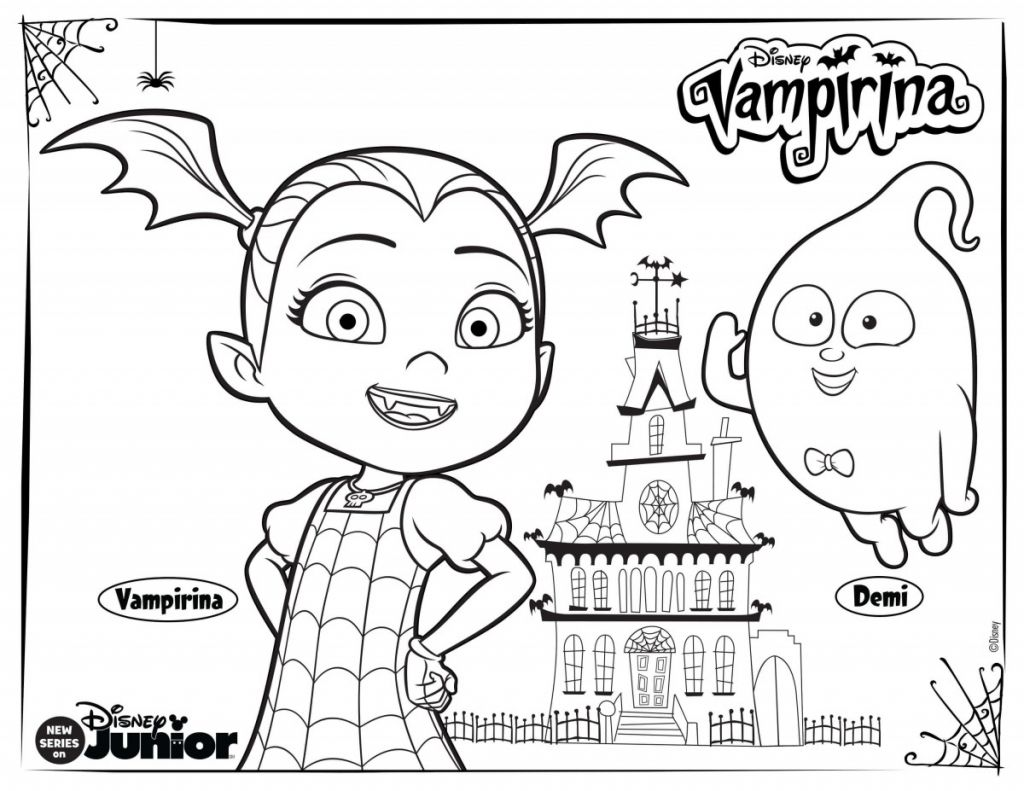 Vampirina And Demi Coloring Page Disney Coloring Pages Halloween Coloring Pages Coloring Pages For Kids