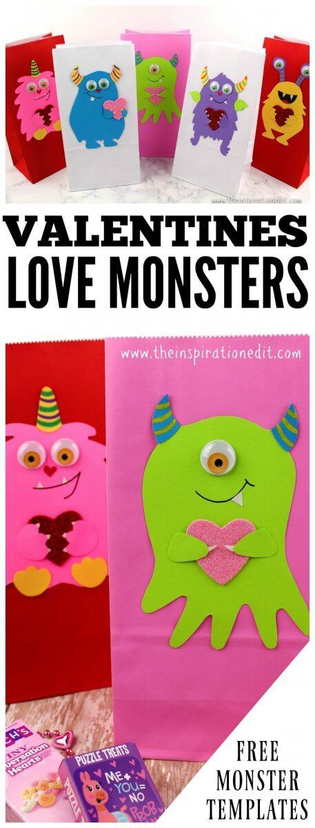 FREE DOWNLOAD Valentines Treat Bags Monster Style Today I have the most adorable Valentines Treat Bags to share. Download Your Free Template here: #valentinesdaygift #Valentinesday #crafting #craftsforkids #kidscraft #art #valentinesideas #valentines #craftsforkids #crafting #KBNMOMS #Monstercraft #Lovemonsters #favours #valentinesbags #valentinesgift #valentinesgiftidea
