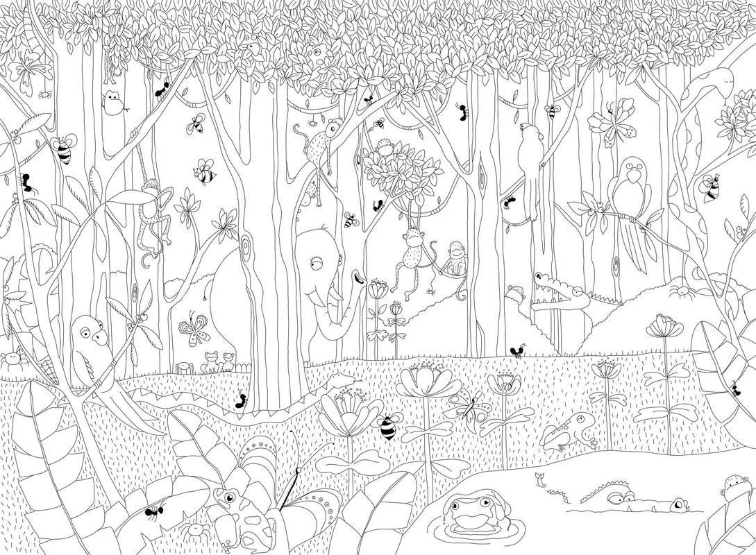 P120102-8 Vlies-Wandbild Dschungel afrikanische Tiere zum Ausmalen ...