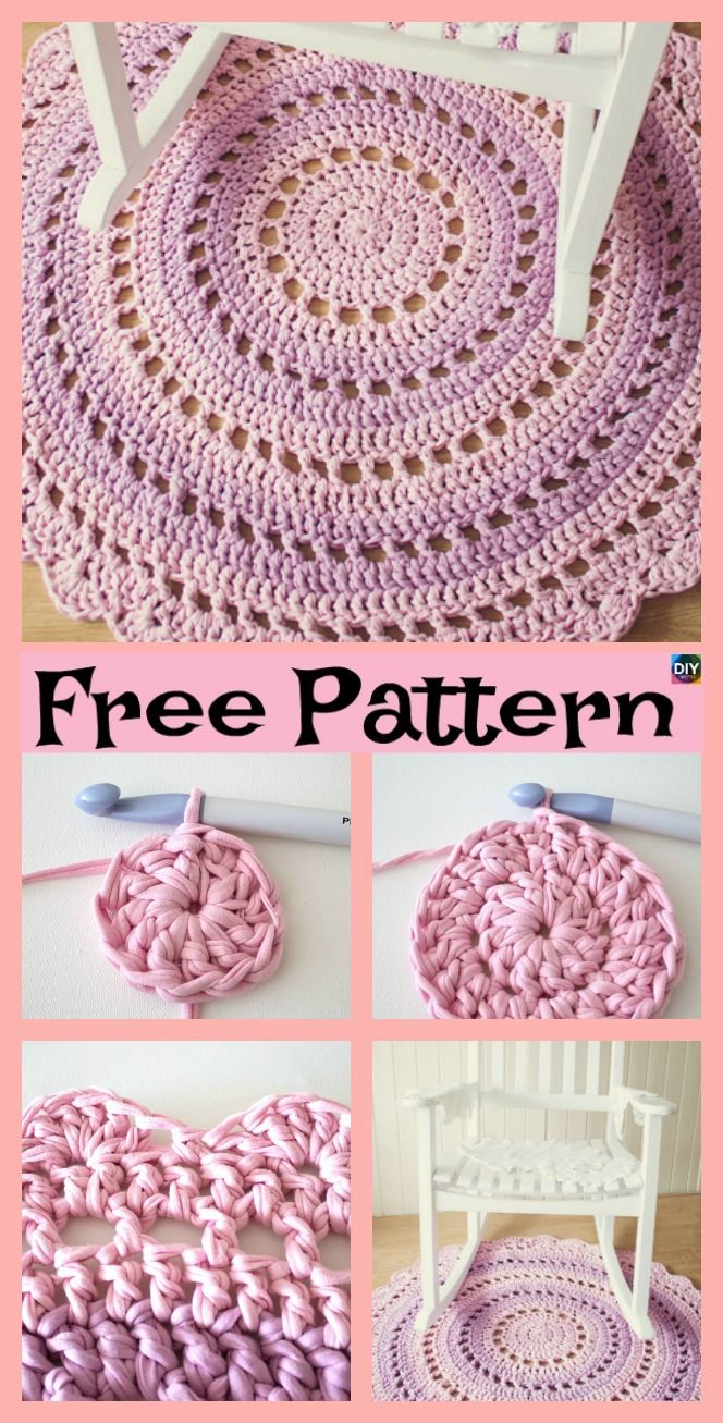 10 Awesome Crochet Rug from Shirts Free Patterns | Handarbeiten ...