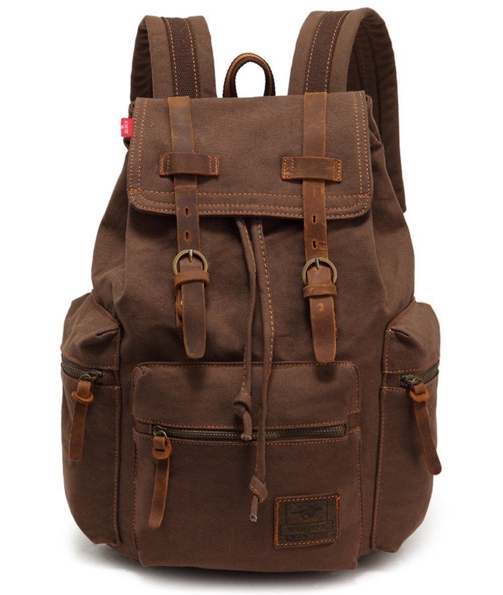 Vere Gloria Men s Women s Canvas Leather Hiking Daypack, Teens Boys Girls  College Students School Backpack Bags, 15 Inches Laptop Bag, Casual Back  Pack for ... 2d8b28f9bb