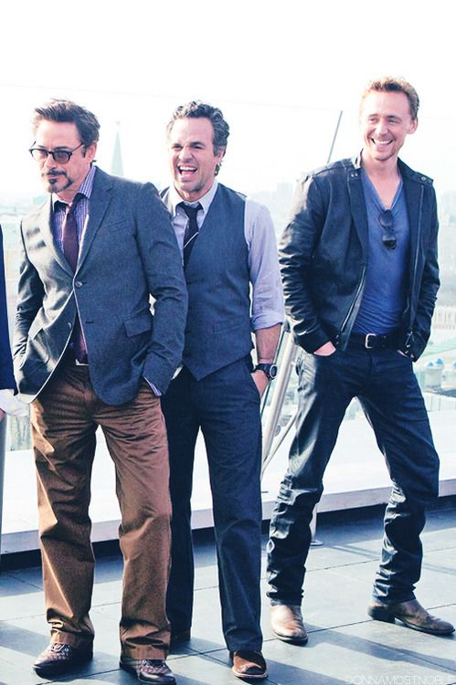 """Robert Downey Jr., Mark Ruffalo and Tom Hiddleston during the """"Avengers"""" press tour in Moscow."""