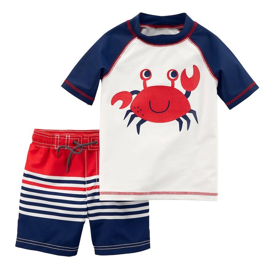 c1b65141afde3 Baby Boy Carter's Crab Rash Guard & Striped Swim Trunks Set, Size: 12  Months, White