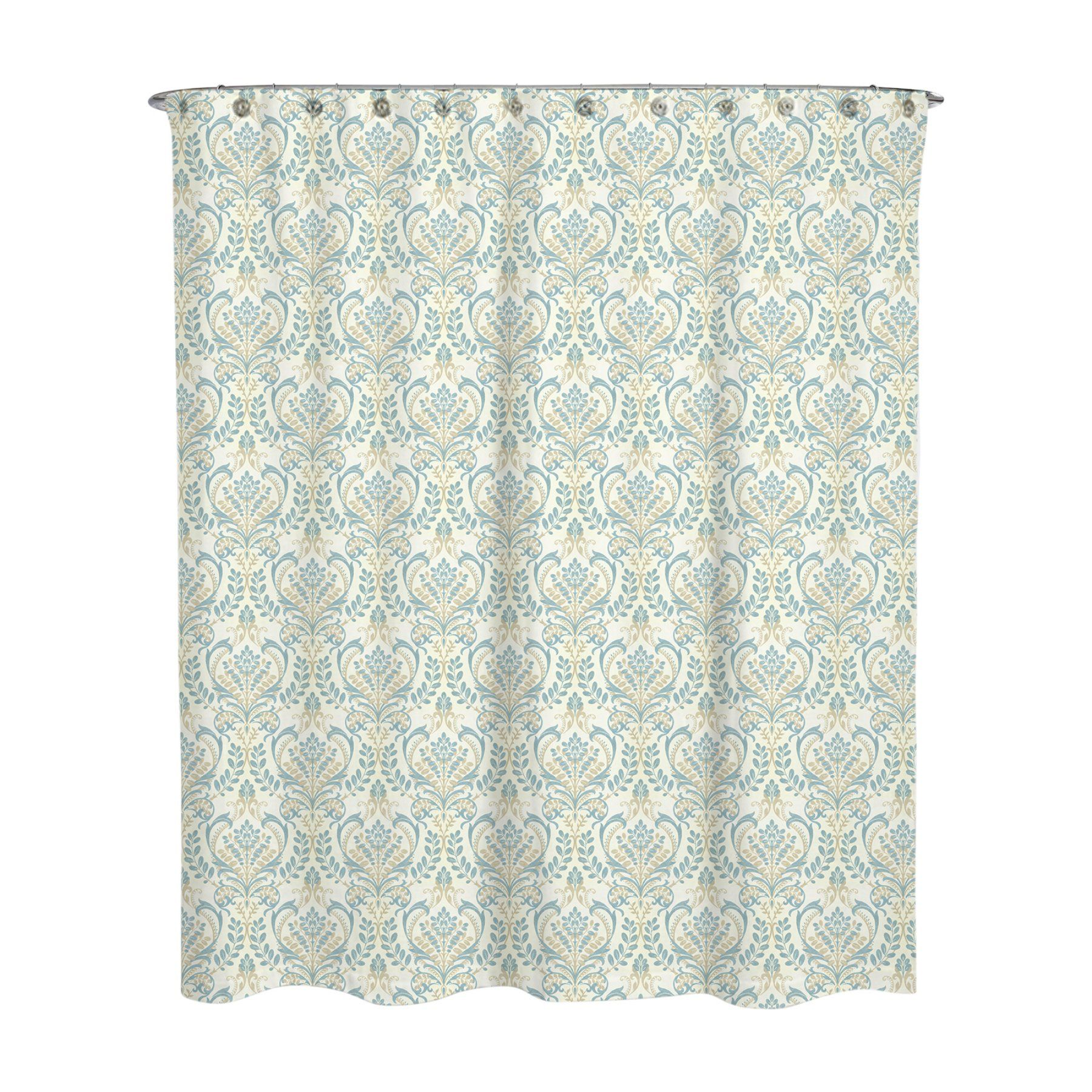 Damask Blue Vince Water Repellent Shower Curtain By A1 Home