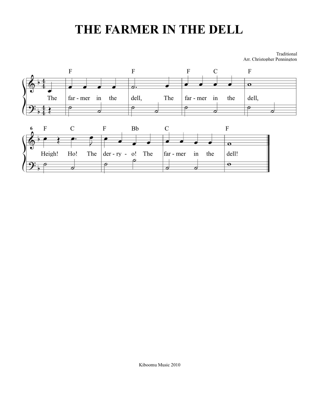 Sheet Music Free Printable The Farmer In The Dell Sheet