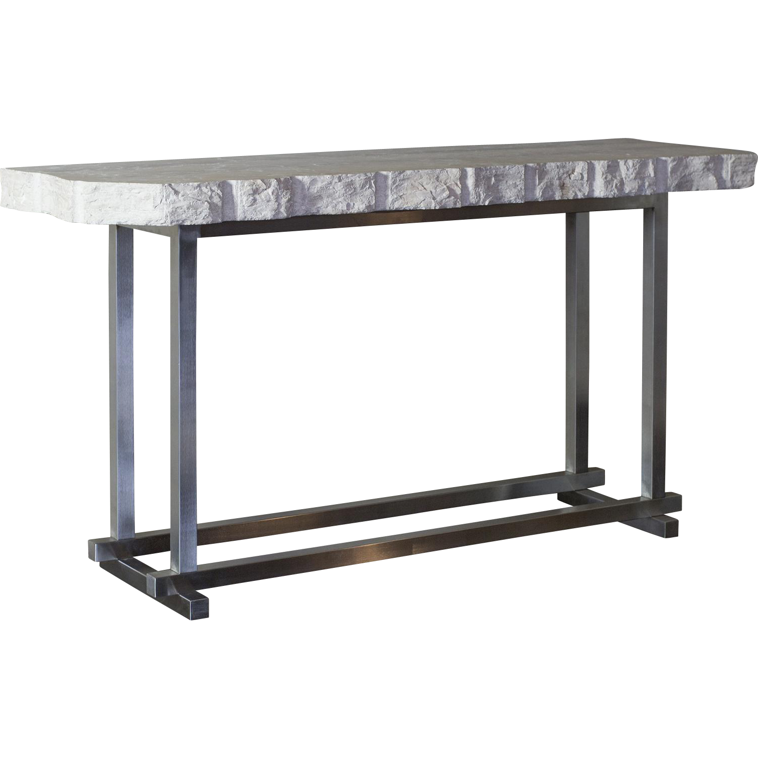 Charmant Brushed Steel Base And White Marble Slate Top With Brut Cut. Modern Console  TablesWhite ...
