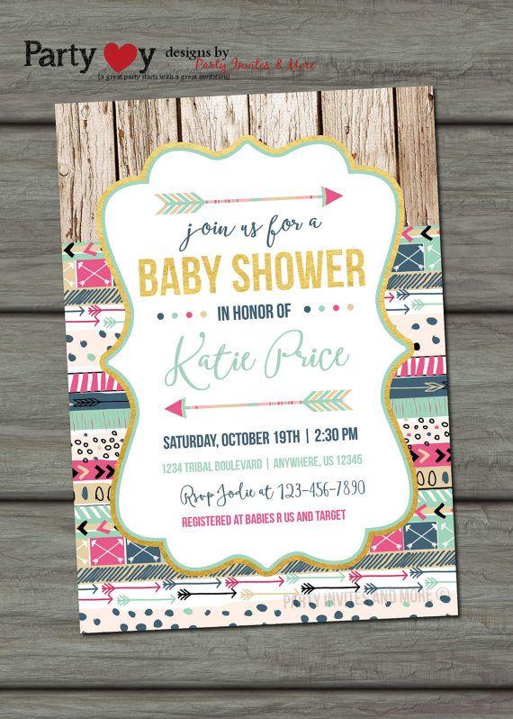 tribal baby shower invitation, baby shower invitation, aztec baby, Baby shower invitations