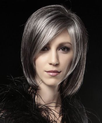 dark hair with silver highlights - Google Search cabello - cortes de cabello modernos para mujer