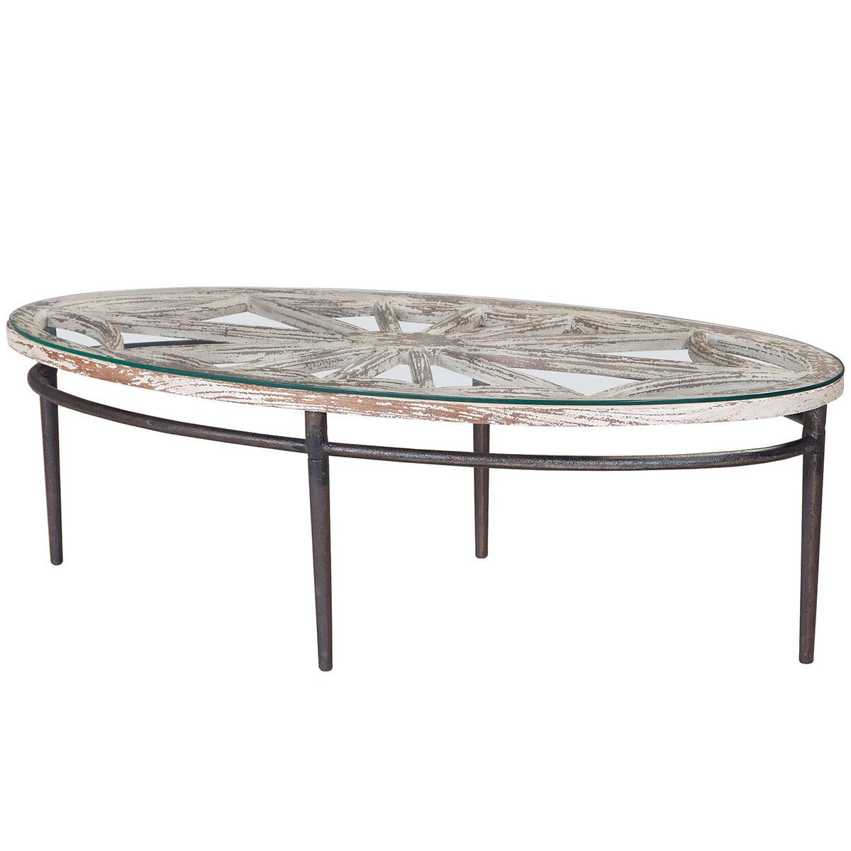 Farm chic glass top oval coffee table glass top accent