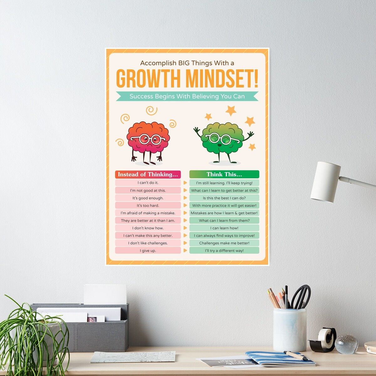 'Growth Mindset Resource - Educational Poster for Classroom Decoration, Bulletin Boards - Inspire & Motivate Young Students' Poster by posterpro