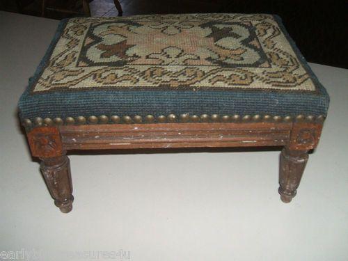 Antique Wool Needlepoint Wooden Foot Stool Footstool
