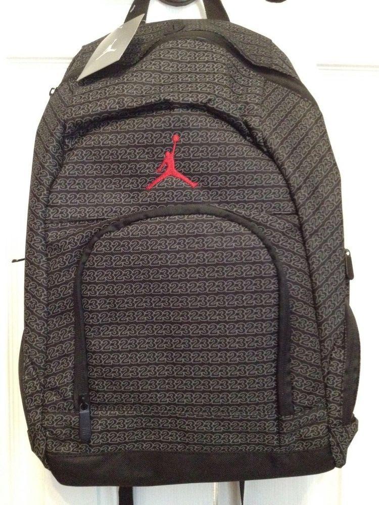 d749da0d69 NWT Air Jordan 23 Logo Jumpman Black Gray Red School Laptop Backpack NEW   Jordan  Backpack